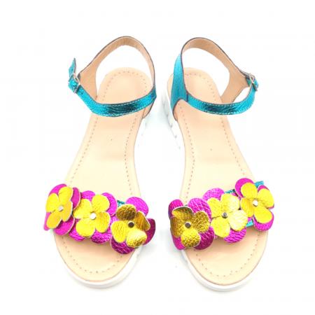 Sandale dama cu platforma si flori din piele naturala Turquoise Metal2