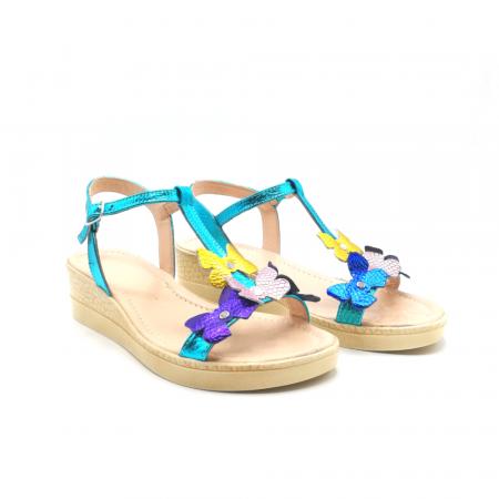 Sandale dama cu platforma si flori din piele naturala Turquoise1