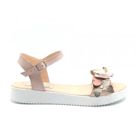 Sandale dama cu platforma si flori din piele naturala Nude0