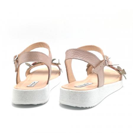 Sandale dama cu platforma si flori din piele naturala Nude3