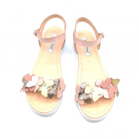 Sandale dama cu platforma si flori din piele naturala Nude2