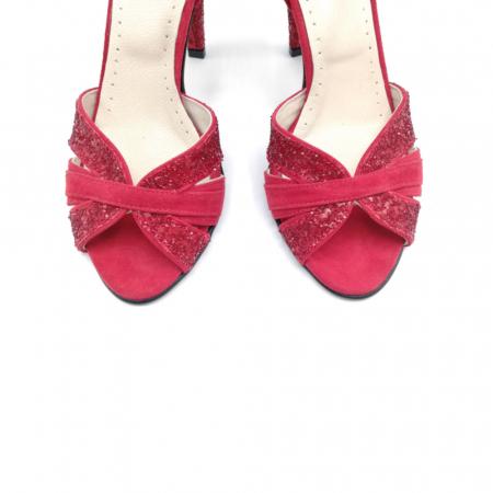 Sandale dama cu toc Deep Red din piele naturala3