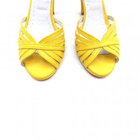 Sandale dama cu toc Bright Yellow din piele naturala4