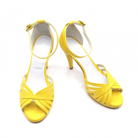 Sandale dama cu toc Bright Yellow din piele naturala2