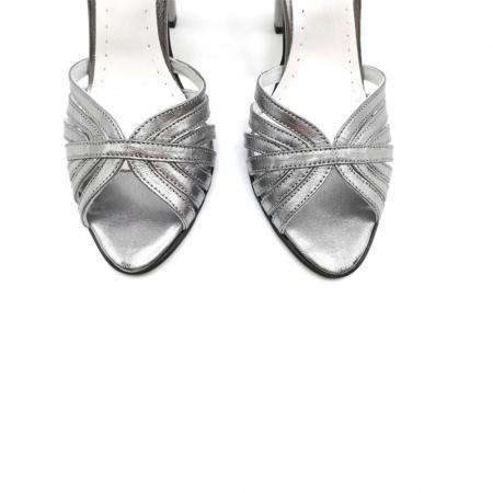 Sandale dama cu toc gros Shiny Silver din piele naturala4