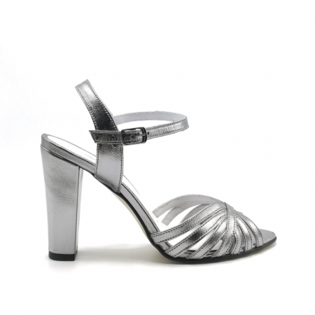 Sandale dama cu toc gros Shiny Silver din piele naturala0