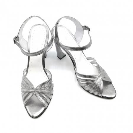 Sandale dama cu toc gros Shiny Silver din piele naturala2