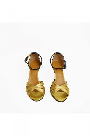 Sandale dama cu toc jos Gold Straps1