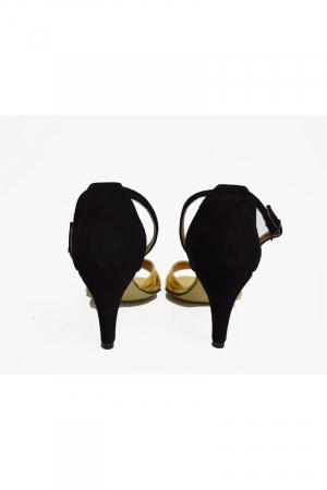 Sandale dama cu toc jos Gold Straps3