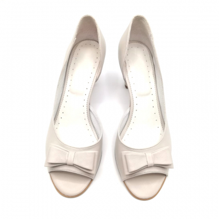 Sandale dama cu toc jos Grey Bow, 392