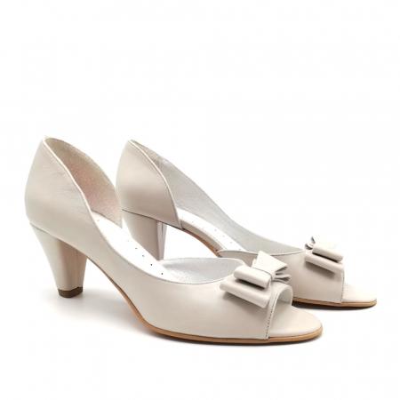Sandale dama cu toc jos Grey Bow1