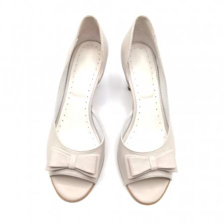 Sandale dama cu toc jos Grey Bow2