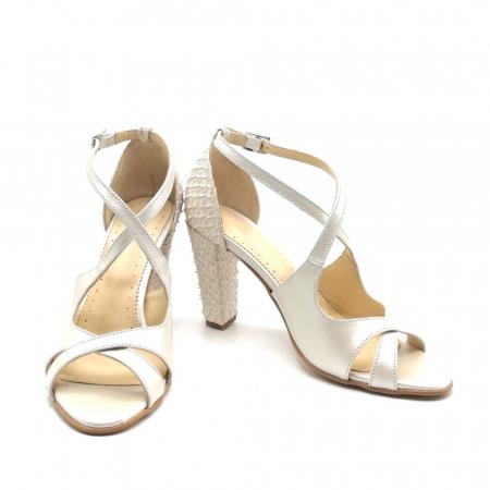 Sandale dama cu toc gros White Scales din piele naturala2