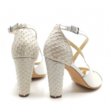 Sandale dama cu toc gros White Scales din piele naturala3