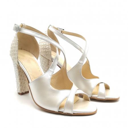 Sandale dama cu toc gros White Scales din piele naturala1