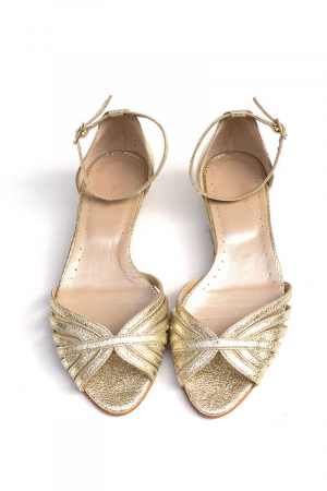 Sandale dama din piele naturala Gold Stripes1