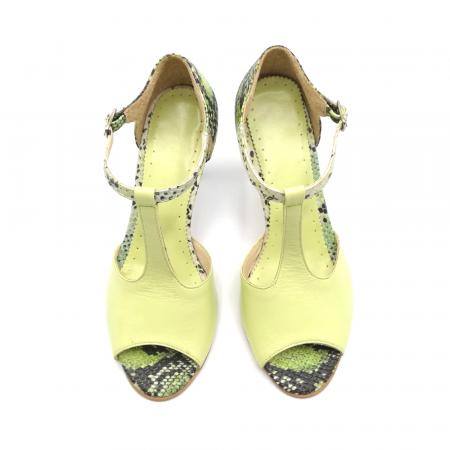Sandale dama din piele naturala cu toc stiletto Lime Snake3