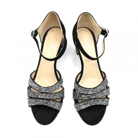 Sandale dama din piele intoarsa cu toc gros Black Glitter2