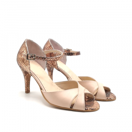 Sandale dama din piele naturala cu toc stiletto Nude Bronze1
