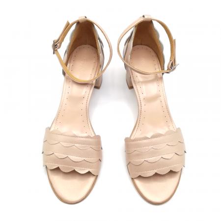 Sandale dama din piele naturala cu toc gros Nude Sidef2