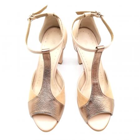 Sandale dama din piele naturala cu toc gros Nude Copper2
