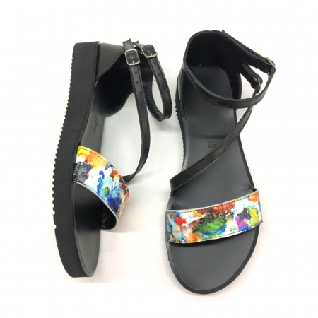 Sandale dama din piele Painted Flowers Anna cu platforma, 381