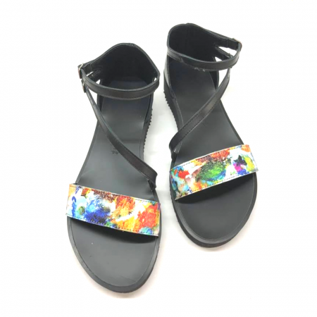 Sandale dama din piele Painted Flowers Anna cu platforma2