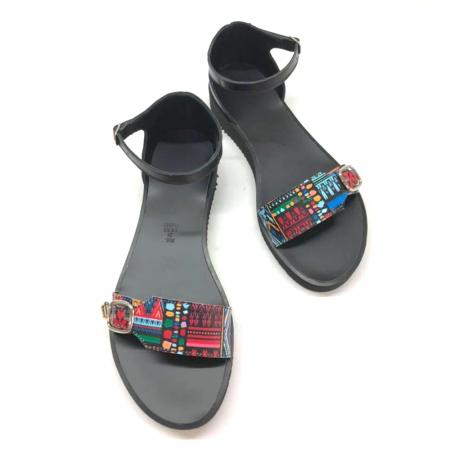 Sandale dama din piele Traditional Pattern Ada cu platforma3