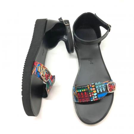Sandale dama din piele Traditional Pattern Ada cu platforma1