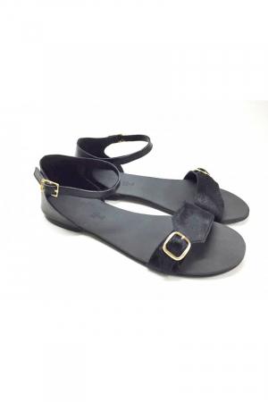 Sandale de dama din piele Ada Pony Black3