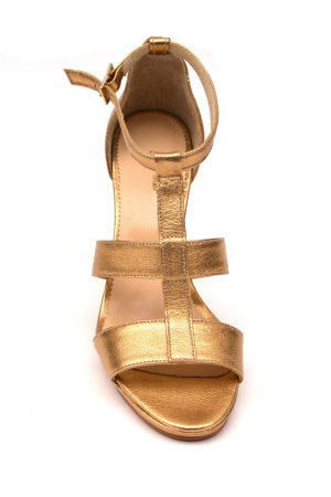 Sandale din piele cu toc gros Shiny Gold1