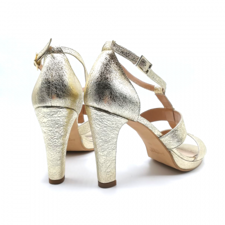 Sandale din piele cu toc gros Gold Texture, 392