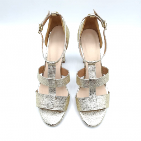 Sandale din piele cu toc gros Gold Texture, 393