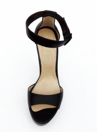 Sandale din piele naturala Romanian Motifs Black3