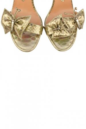 Sandale Mihai Albu din piele metalizata Gold Butterfly3