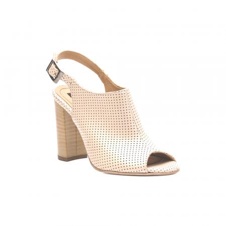 Sandale nude cu toc gros din piele perforata [1]