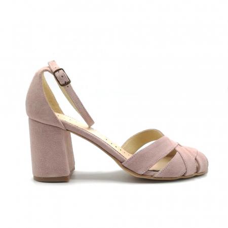 Sandale peep-toe cu toc gros din piele intoarsa Nude Dante0