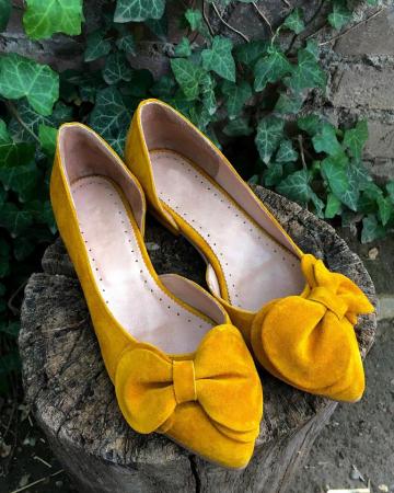 Balerini din piele intoarsa cu funda Yellow Dream0