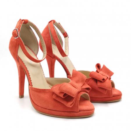 Sandale dama cu toc Orange Bow din piele intoarsa