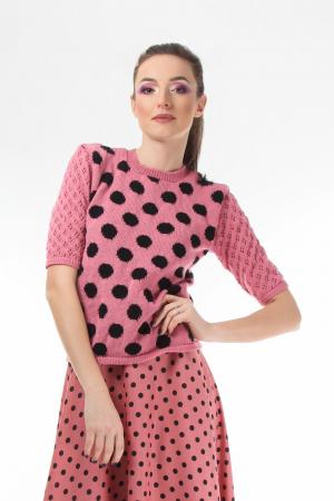 Bluza dama tricotat roz cu buline negre si maneci trei sferturi [0]