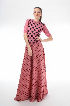 Bluza dama tricotat roz cu buline negre si maneci trei sferturi [2]