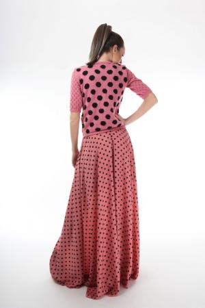 Bluza dama tricotat roz cu buline negre si maneci trei sferturi [1]