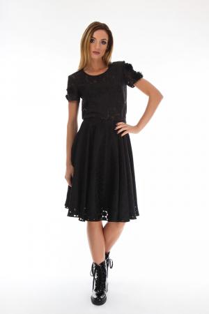 Bluza eleganta neagra cu maneci scurte, 360