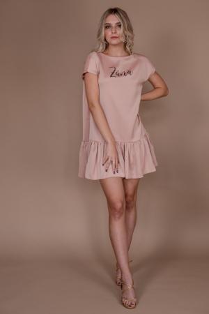 Rochie baby-doll Zana roz cu umeri structurati si volan0