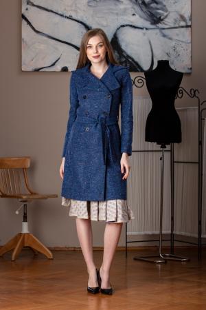 Trench dama din lana pipit albastru Verona0