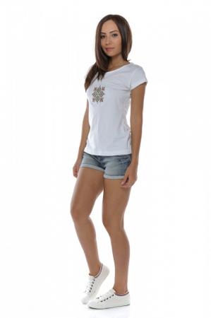 Tricou alb din bumbac cu broderie traditionala Fagaras2