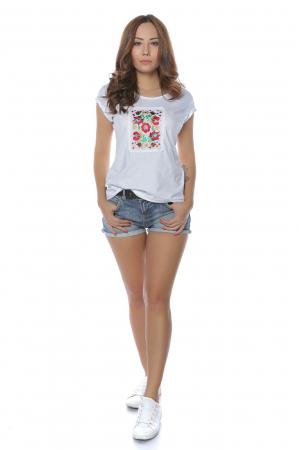 Tricou alb din bumbac cu broderie aplicata Flori