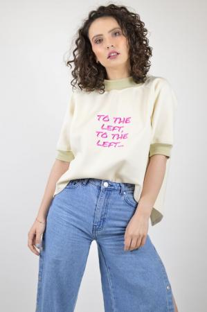 "Tricou bej cu maneca scurta si mesaj ""To The Left"" [0]"