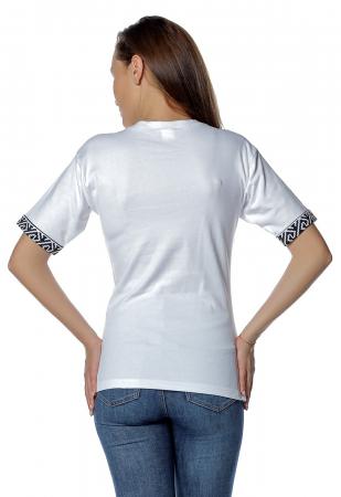 Tricou dama alb cu insertii motive traditionale printate B1282