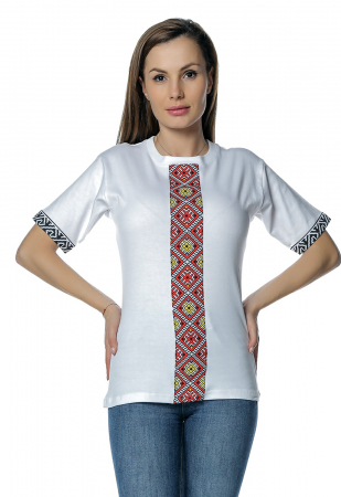 Tricou dama alb cu insertii motive traditionale printate B1280